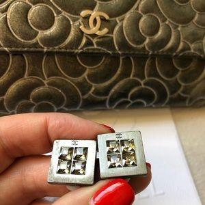 Chanel Gunmetal Silver CC Rhinestone Clip Earrings